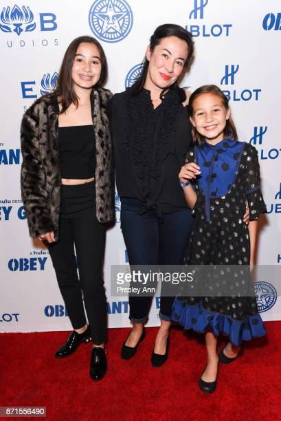 Vivienne Fairey Madeline Fairey and Amanda Fairey attend Photo Op For Hulu's 'Obey Giant' at The Theatre at Ace Hotel on November 7 2017 in Los...