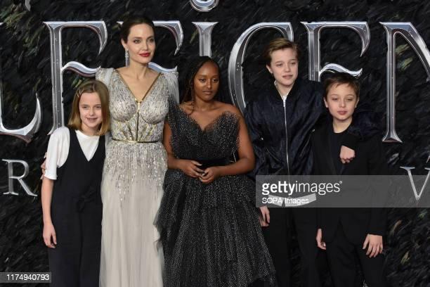 Vivienne JoliePitt Angelina Jolie Zahara JoliePitt Shiloh JoliePitt and Knox Leon JoliePitt attend the Maleficent Mistress of Evil European Premiere...