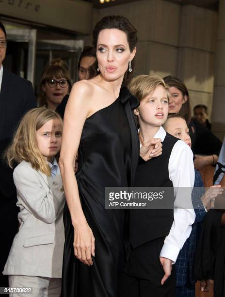 Vivienne Marcheline JoliePitt Angelina Jolie Shiloh Nouvel JoliePitt and Knox Leon JoliePitt attend the premiere of 'First they Killed my Father' at...