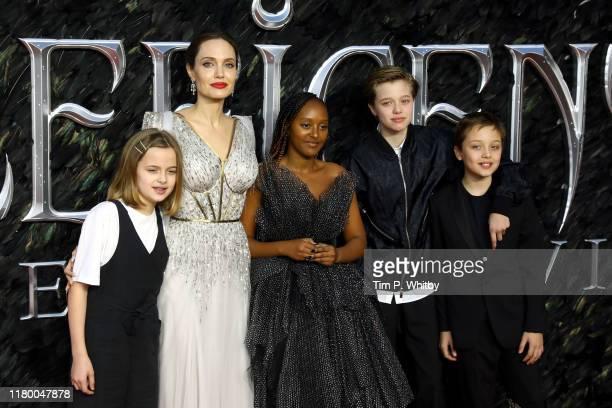 Vivienne Marcheline Jolie-Pitt, Angelina Jolie, Zahara Marley Jolie-Pitt, Shiloh Nouvel Jolie-Pitt and Knox Jolie-Pitt attend the European premiere...