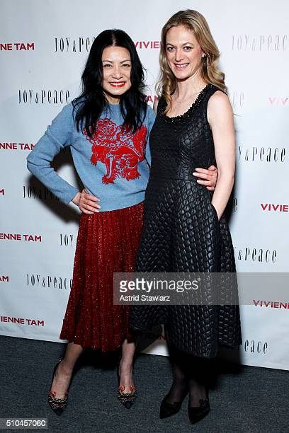 Vivienne Tam and Marin Ireland pose backstage at the Vivienne Tam Fall 2016 fashion show during New York Fashion Week The Shows at The Arc Skylight...