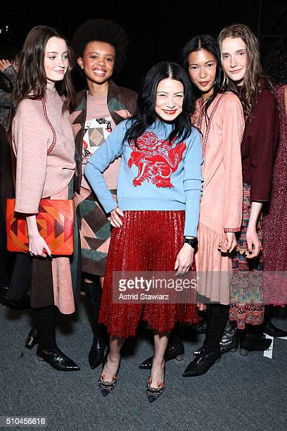 Vivienne Tam poses backstage at the Vivienne Tam Fall 2016 fashion show during New York Fashion Week: The Shows at The Arc, Skylight at Moynihan...