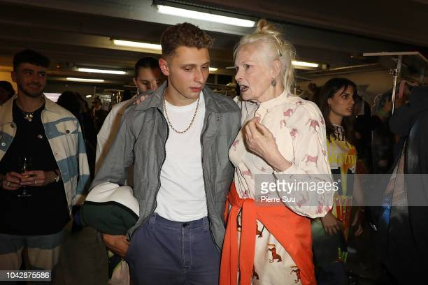 Vivienne Wesrwood and Blondey McCoy are seen backstage after the Vivienne Westwood show as part of the Paris Fashion Week Womenswear Spring/Summer...