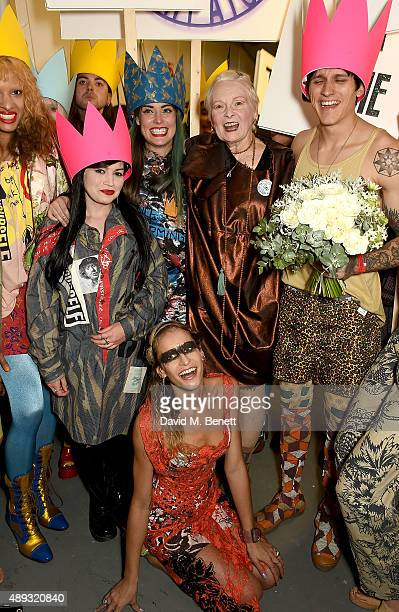 Vivienne Westwood and Alice Dellal backstage at the Vivienne Westwood Red Label show during London Fashion Week SS16 at Ambika P3 on September 20...