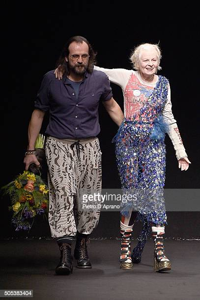 Vivienne Westwood and Andreas Kronthaler acknowledges the applause of the public after the Vivienne Westwood show during Milan Men's Fashion Week...