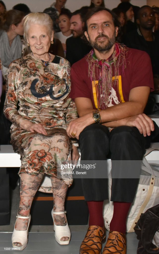 Vivienne Westwood (L) and Andreas Kronthaler attend the Matty Bovan front row during London Fashion Week September 2018 at the BFC Show Space on September 14, 2018 in London, England.