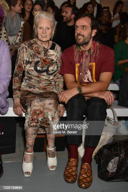 Vivienne Westwood and Andreas Kronthaler attend the Matty Bovan front row during London Fashion Week September 2018 at the BFC Show Space on...