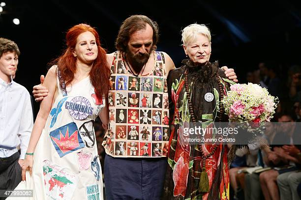 Vivienne Westwood and Andreas Kronthaler walk the runway during the Vivienne Westwood fashion show as part of Milan Men's Fashion Week Spring/Summer...