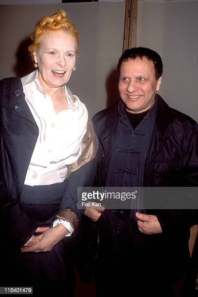 Vivienne Westwood and Azzedine Alaia during Paris Fashion Week Autumn Winter 2005/2006 Westwood Backstage at Carrousel du Louvre in Paris France