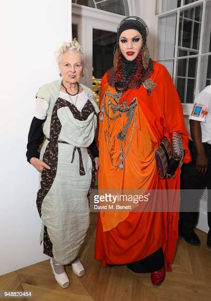 Vivienne Westwood and Daniel Lismore attend a private view of Joe Corre's new exhibition 'Ash From Chaos' at Lazinc on April 19 2018 in London England