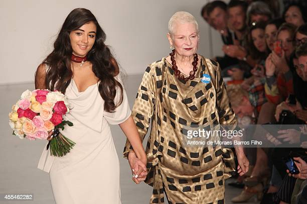 Vivienne Westwood and granddaughter Cora Corre walk the runway at the Vivienne Westwood Red Label show during London Fashion Week Spring Summer 2015...