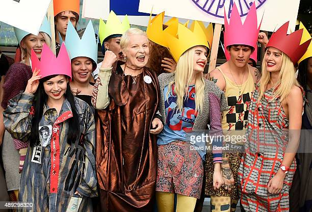 Vivienne Westwood and her 'Fash Mob' prior to the Vivienne Westwood Red Label show during London Fashion Week SS16 at Ambika P3 on September 20, 2015...