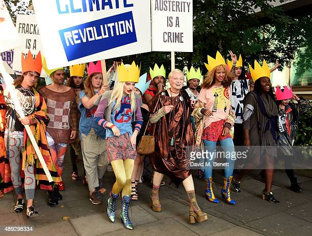 Vivienne Westwood and her 'Fash Mob' prior to the Vivienne Westwood Red Label show during London Fashion Week SS16 at Ambika P3 on September 20 2015...
