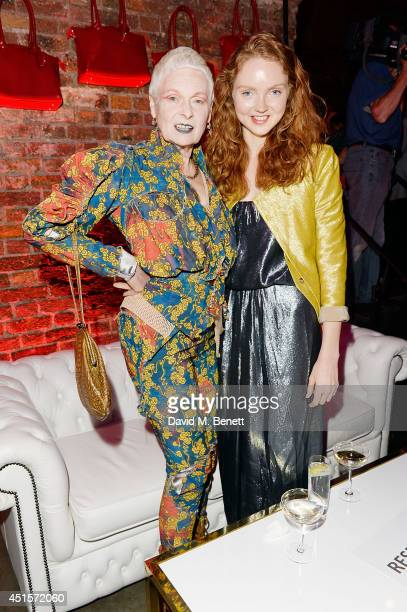 Vivienne Westwood and Lily Cole attend the launch party to celebrate Virgin Atlantic's new Vivienne Westwood uniform collection at Village...