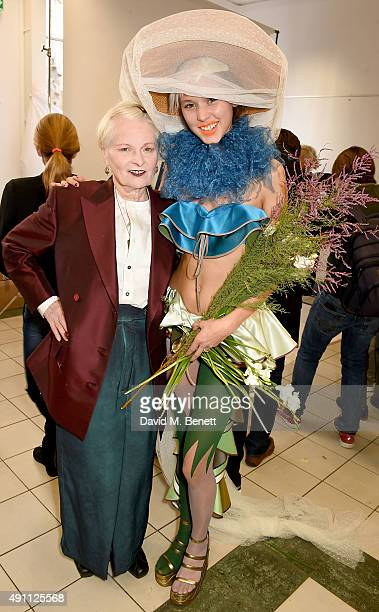 Vivienne Westwood and model backstage during the Vivienne Westwood show as part of the Paris Fashion Week Womenswear Spring/Summer2016 on October 3...