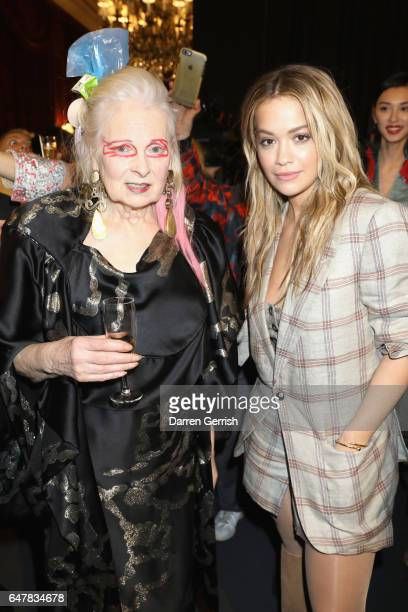 Vivienne Westwood and Rita Ora are seen backstage after the Andreas Kronthaler for Vivienne Westwood show as part of the Paris Fashion Week...