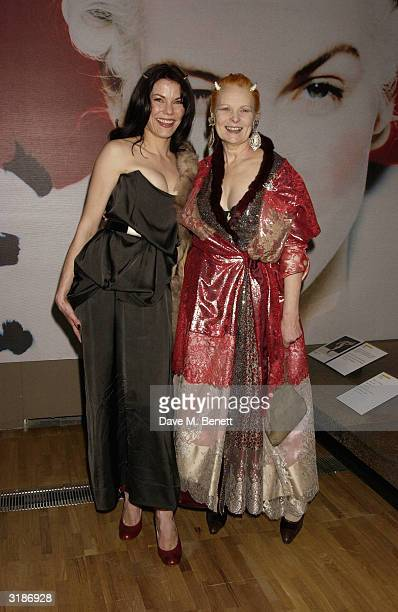 Vivienne Westwood and Sarah Stockbridgeattends the Vivienne Westwood Private View of new retrospective show at the VA Museum on March 30 2004 in...