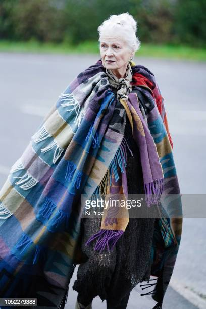 Vivienne Westwood arrives at a protest outside Preston New Road Cuadrilla fracking site on October 16 2018 in Preston England