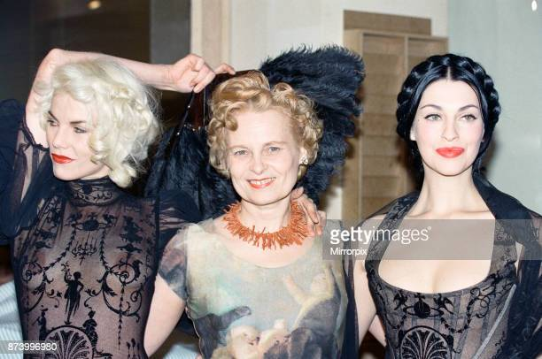 Vivienne Westwood at a showing of her fashion collection at Tall Orders Soho London on the left is model Sara Stockbridge Westwood's muse October 1991