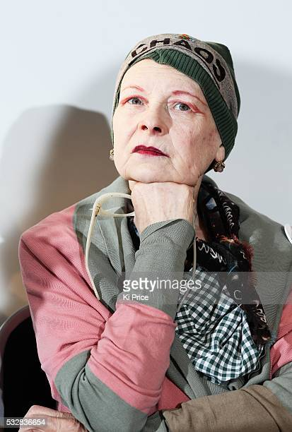 Vivienne Westwood attends a End Ecoside press conference on HMS President in London on January 15th 2014 s multinational Total announces its plans to...