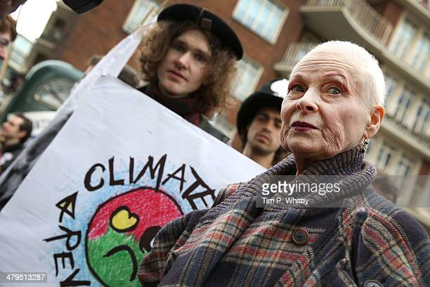 Vivienne Westwood attends a protest march at the Fracked Future Carnival on March 19, 2014 in London, England.