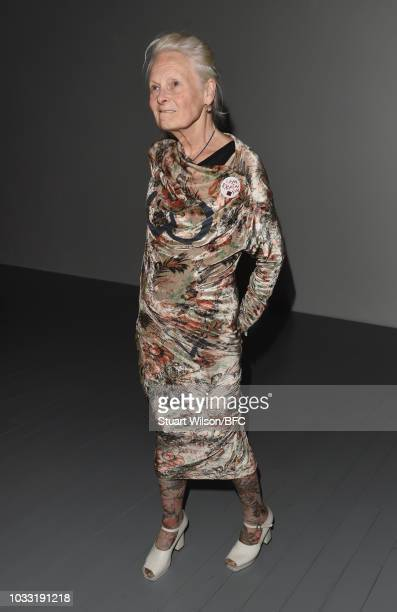Vivienne Westwood attends the Matty Bovan Show during London Fashion Week September 2018 at The BFC Show Space on September 14 2018 in London England