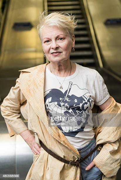 Vivienne Westwood attends the Save The Arctic Collection launch at Waterloo Station on July 13, 2015 in London, England.