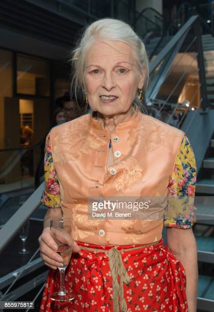 Vivienne Westwood backstage after her show as part of the Paris Fashion Week Womenswear Spring/Summer 2018 on September 30 2017 in Paris France