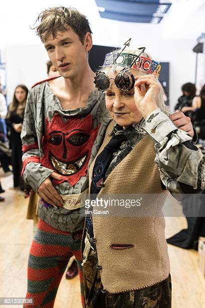 Vivienne Westwood backstage ahead of the Vivienne Westwood show during London Fashion Week Men's January 2017 collections at Seymour Leisure Centre...