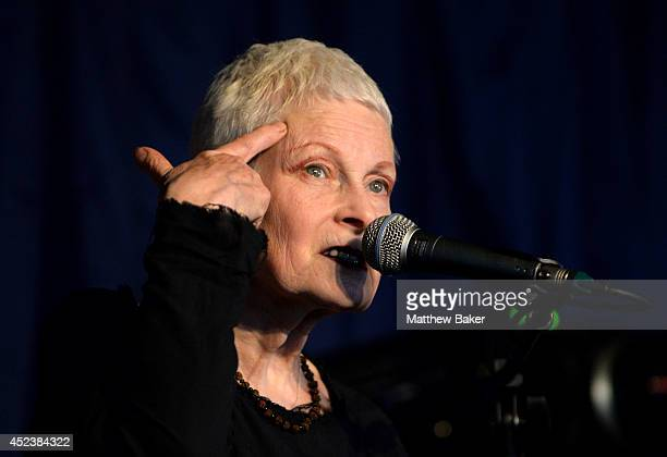 Vivienne Westwood discusses Greenpeace's 'Save the Arctic' campaign in the Literary tent at the Latitude Festival at Henham Park Estate on July 19...