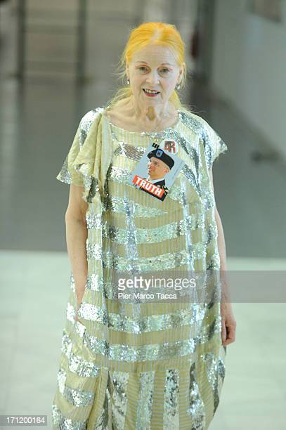 Vivienne Westwood during backstage at the Vivienne Westwood show during Milan Menswear Fashion Week Spring Summer 2014 on June 23 2013 in Milan Italy