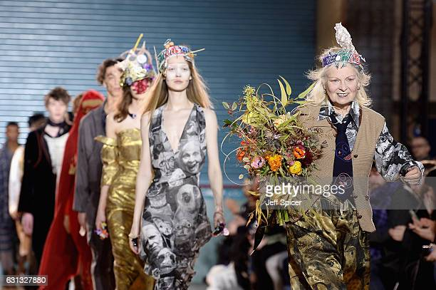 Vivienne Westwood is seen on the runway for the finale of the Vivienne Westwood show during London Fashion Week Men's January 2017 collections at...