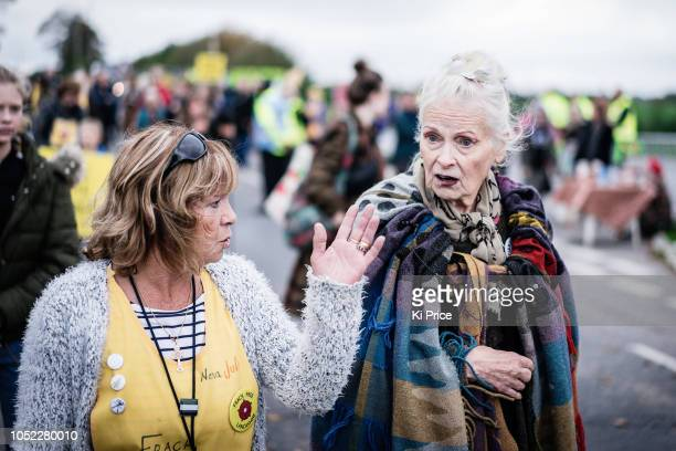 Vivienne Westwood joins protesters at Preston New Road Cuadrilla fracking site on October 16 2018 in Preston England