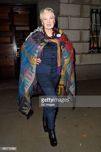 Vivienne Westwood leaves the Attitude Magazine Awards on October 14 2015 in London England