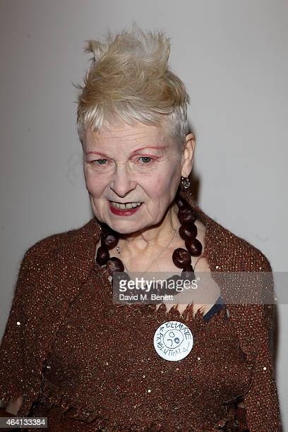 Vivienne Westwood poses backstage at the Vivienne Westwood Red Label show during London Fashion Week Fall/Winter 2015/16 at Science Museum on...