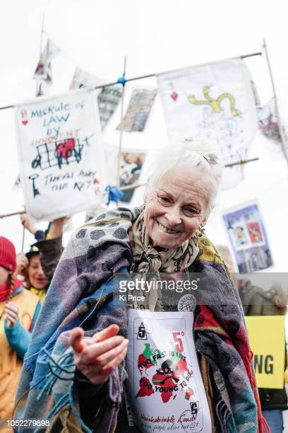 Vivienne Westwood protests outside Preston New Road Cuadrilla fracking site on October 16 2018 in Preston England