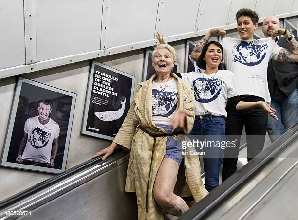 Vivienne Westwood Sadie Frost Leebo Freeman and Andy Gotts attend the Save The Arctic Collection launch at Waterloo Station on July 13 2015 in London...