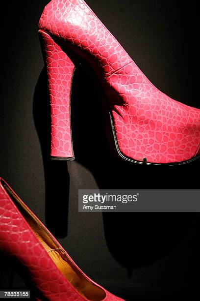 Vivienne Westwood shoes is displayed at the Blogmode addressing fashion exhibit at the Metropolitan Museum of Art's Costume Institute on December 17...
