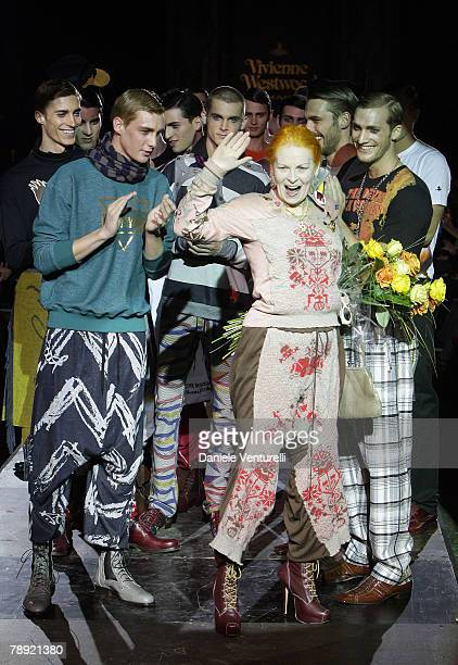 Vivienne Westwood walks down the catwalk at the end of her fashion show as part of Milan Fashion Week Autumn/Winter 2008/2009 on January 13 2008 in...