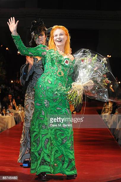 Vivienne Westwood walks down the catwalk during the Chaos Point Gala Dinner in collaboration with the London Musici Orchestra in aid of the NSPCC...