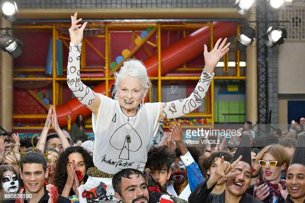 Vivienne Westwood walks the runway at the Vivenne Westwood fashion show during the London Fashion Week Men's June 2017 Spring Summer 2018 collections...