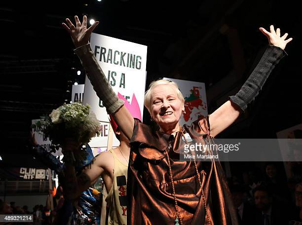 Vivienne Westwood walks the runway at the Vivienne Westwood Red Label show during London Fashion Week Spring/Summer 2016/17 on September 20 2015 in...