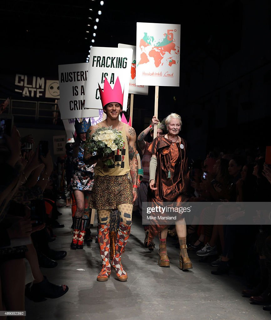 Vivienne Westwood walks the runway at the Vivienne Westwood Red Label show during London Fashion Week Spring/Summer 2016/17 on September 20, 2015 in London, England.