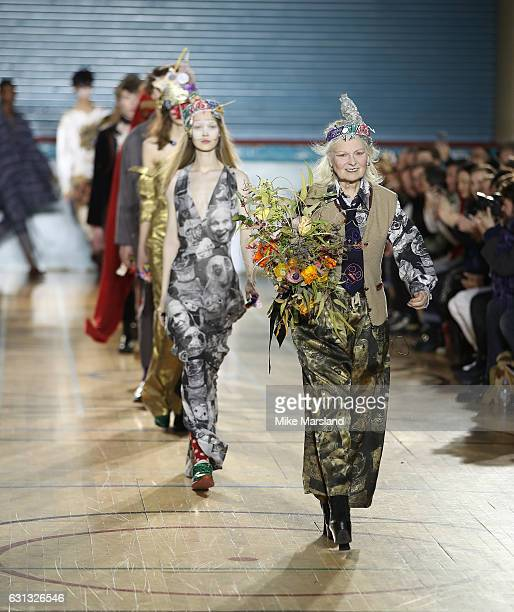 Vivienne Westwood walks the runway at the Vivienne Westwood show during London Fashion Week Men's January 2017 collections at Seymour Leisure Centre...