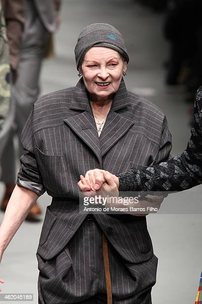 Vivienne Westwood walks the runway during the Vivienne Westwood show as a part of Milan Fashion Week Menswear Autumn/Winter 2014 on January 12 2014...