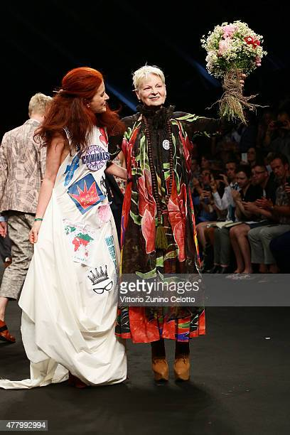 Vivienne Westwood walks the runway during the Vivienne Westwood fashion show as part of Milan Men's Fashion Week Spring/Summer 2016 on June 21 2015...