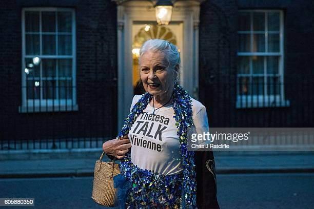 Vivienne Westwood wears a 'Theresa Talk Vivienne' t-shirt when arriving for a celebration of British fashion hosted by British Prime Minister Theresa...