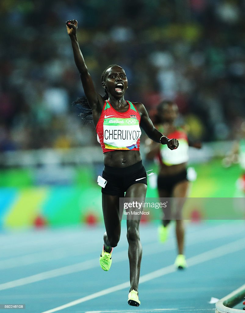 Viviian Jepkemoi Cheruiyot of Kenya celebrates winning the Women's 5000m Final on Day 14 of the Rio 2016 Olympic Games at the Olympic Stadium on August 19, 2016 in Rio de Janeiro, Brazil.