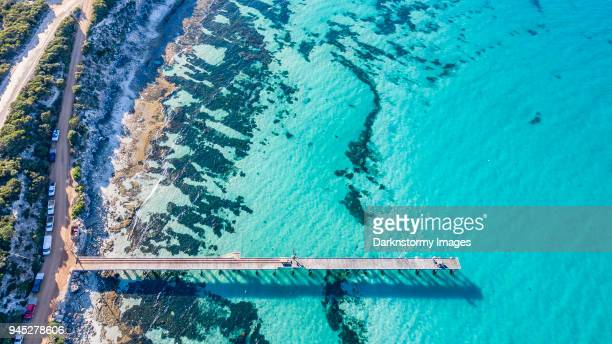 vivonne bay jetty - kangaroo island stock photos and pictures