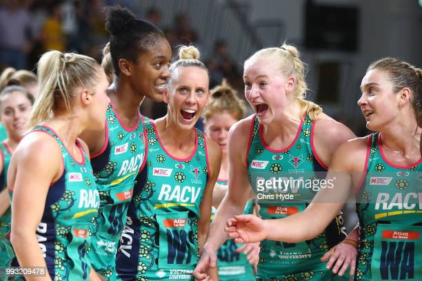 Vixens celebrate winning the round 10 Super Netball match between the Firebirds and the Vixens at Gold Coast Sports and Leisure Centre on July 7 2018...